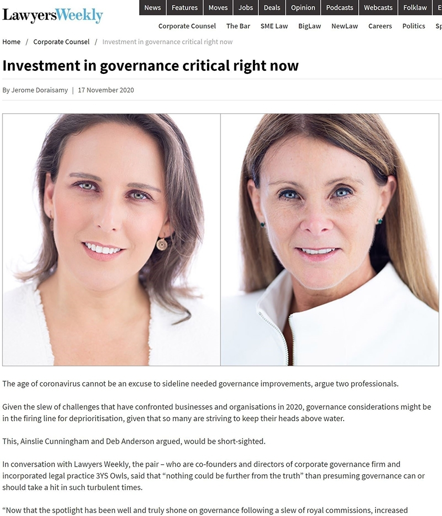 3YS Owls Ainslie Cunningham and Deb Anderson Laywers Weekly Governance Article