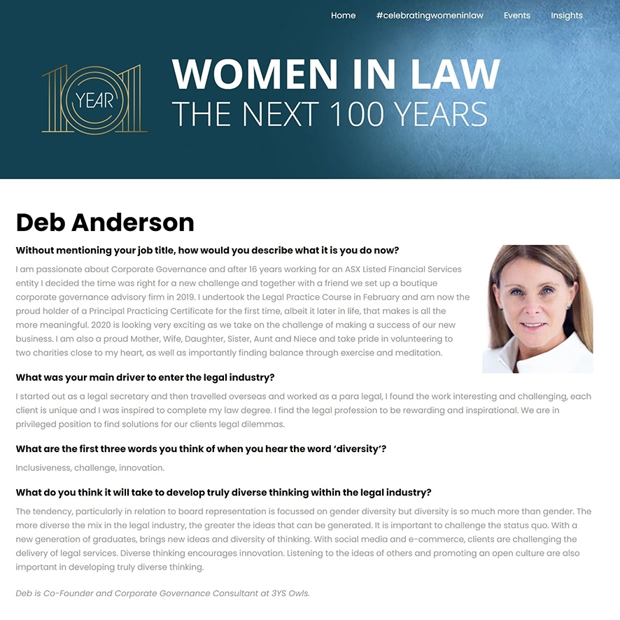 Deb Anderson Year 101 Women in Law