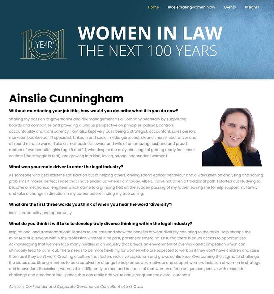 Ainslie Cunningham Year 101 Women in Law
